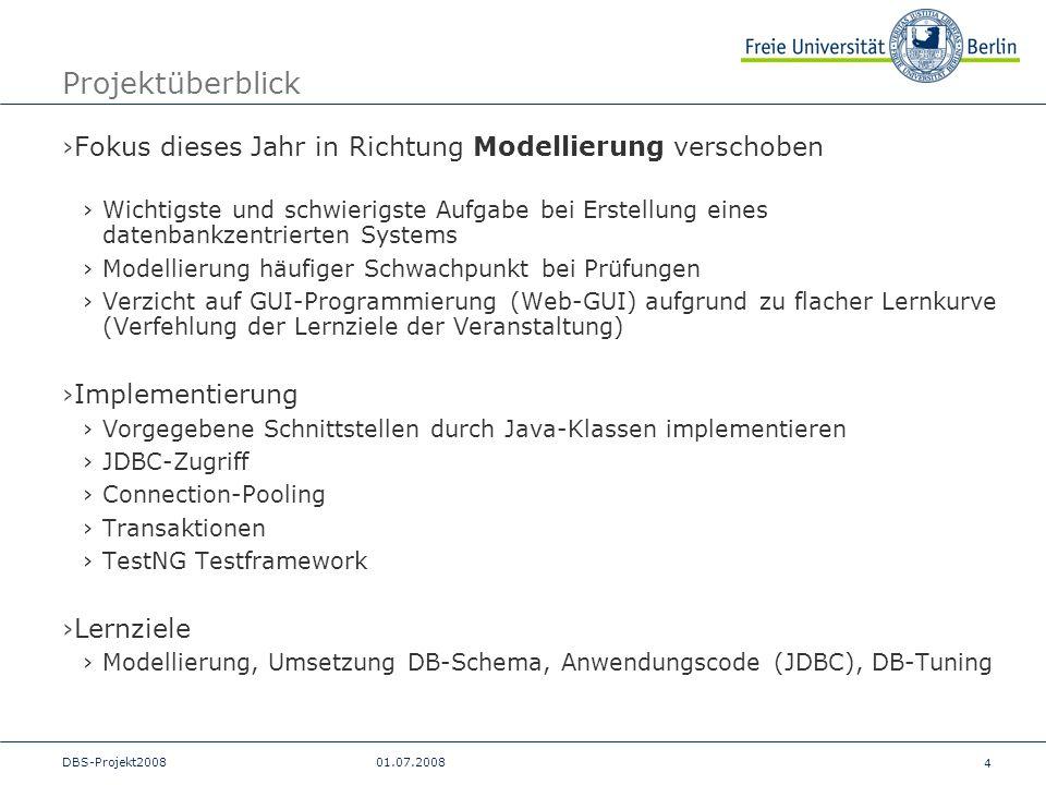 4 DBS-Projekt200801.07.2008 Projektüberblick Fokus dieses Jahr in Richtung Modellierung verschoben Wichtigste und schwierigste Aufgabe bei Erstellung
