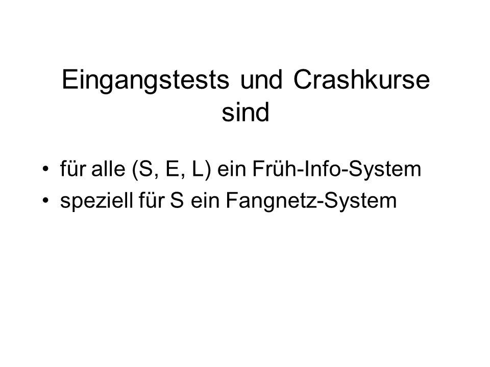 Eingangstests und Crashkurse sind für alle (S, E, L) ein Früh-Info-System speziell für S ein Fangnetz-System