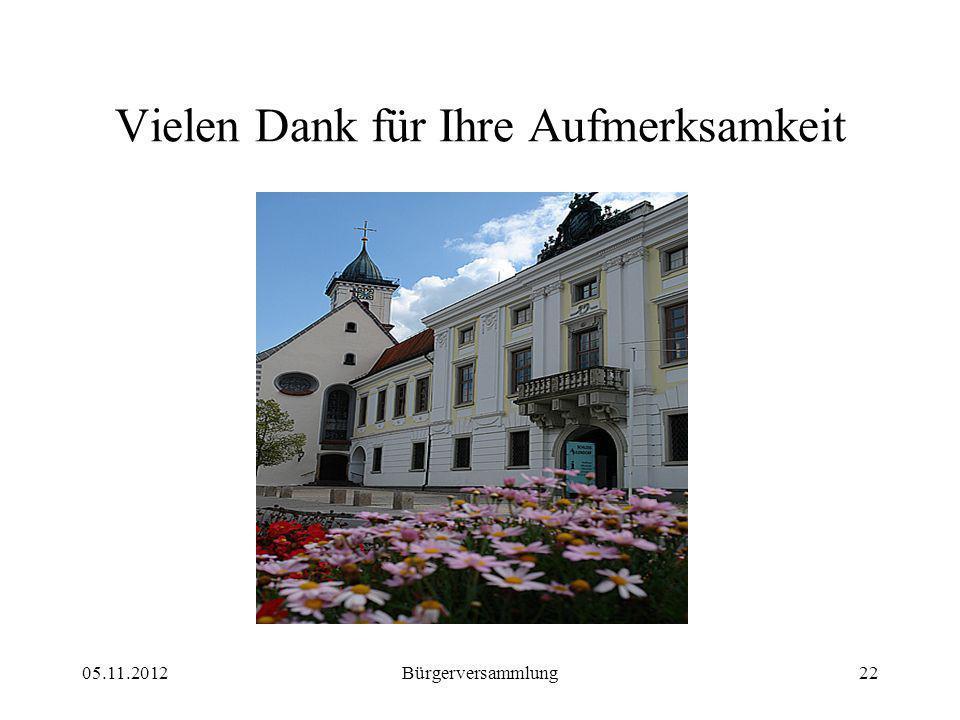 05.11.2012Bürgerversammlung22 Vielen Dank für Ihre Aufmerksamkeit