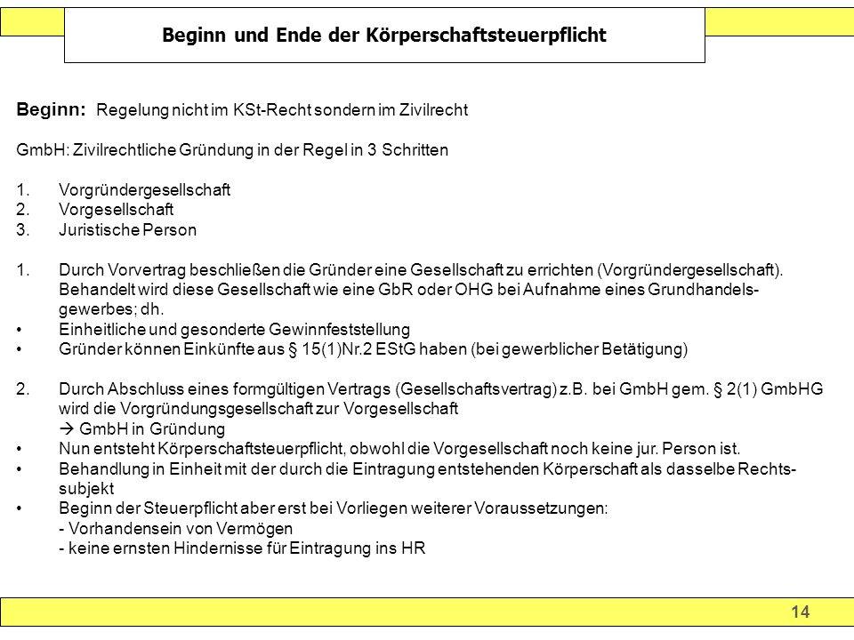 14 Beginn und Ende der Körperschaftsteuerpflicht Beginn: Regelung nicht im KSt-Recht sondern im Zivilrecht GmbH: Zivilrechtliche Gründung in der Regel