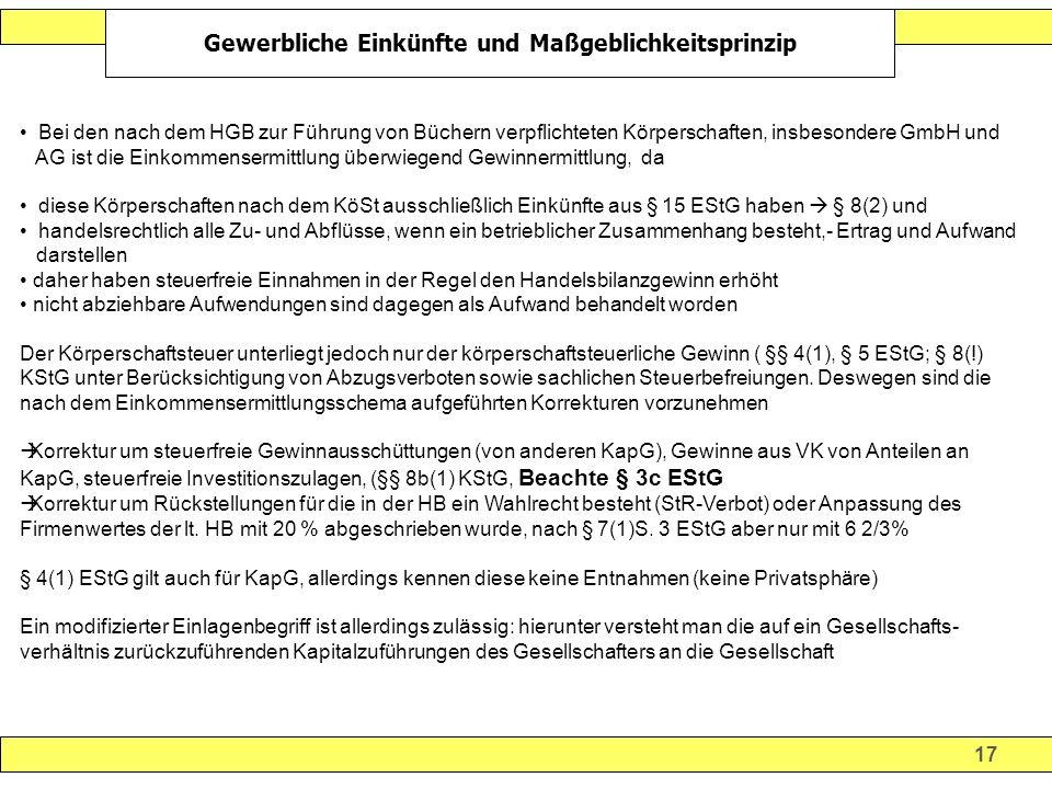 17 Gewerbliche Einkünfte und Maßgeblichkeitsprinzip Bei den nach dem HGB zur Führung von Büchern verpflichteten Körperschaften, insbesondere GmbH und