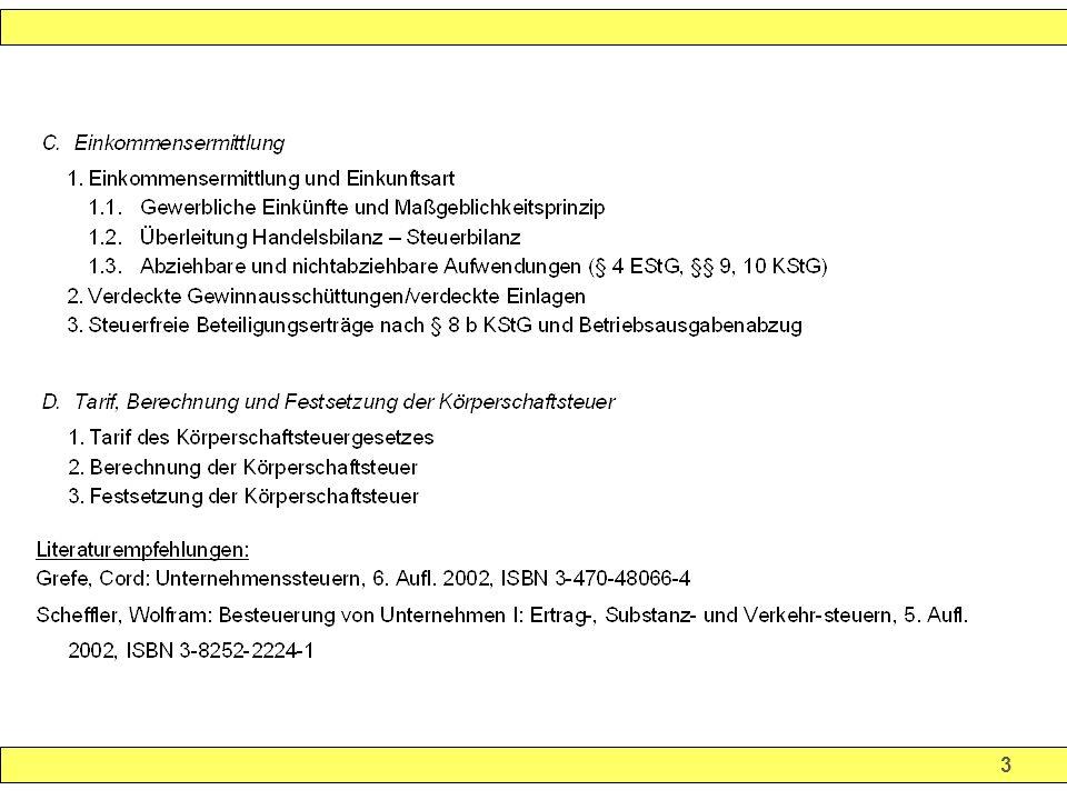 14 Beginn und Ende der Körperschaftsteuerpflicht Beginn: Regelung nicht im KSt-Recht sondern im Zivilrecht GmbH: Zivilrechtliche Gründung in der Regel in 3 Schritten 1.Vorgründergesellschaft 2.Vorgesellschaft 3.Juristische Person 1.
