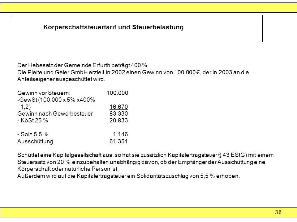 36 Körperschaftsteuertarif und Steuerbelastung Der Hebesatz der Gemeinde Erfurth beträgt 400 % Die Pleite und Geier GmbH erzielt in 2002 einen Gewinn