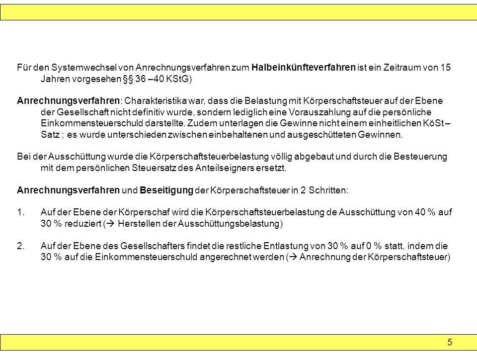 36 Körperschaftsteuertarif und Steuerbelastung Der Hebesatz der Gemeinde Erfurth beträgt 400 % Die Pleite und Geier GmbH erzielt in 2002 einen Gewinn von 100.000, der in 2003 an die Anteilseigener ausgeschüttet wird.