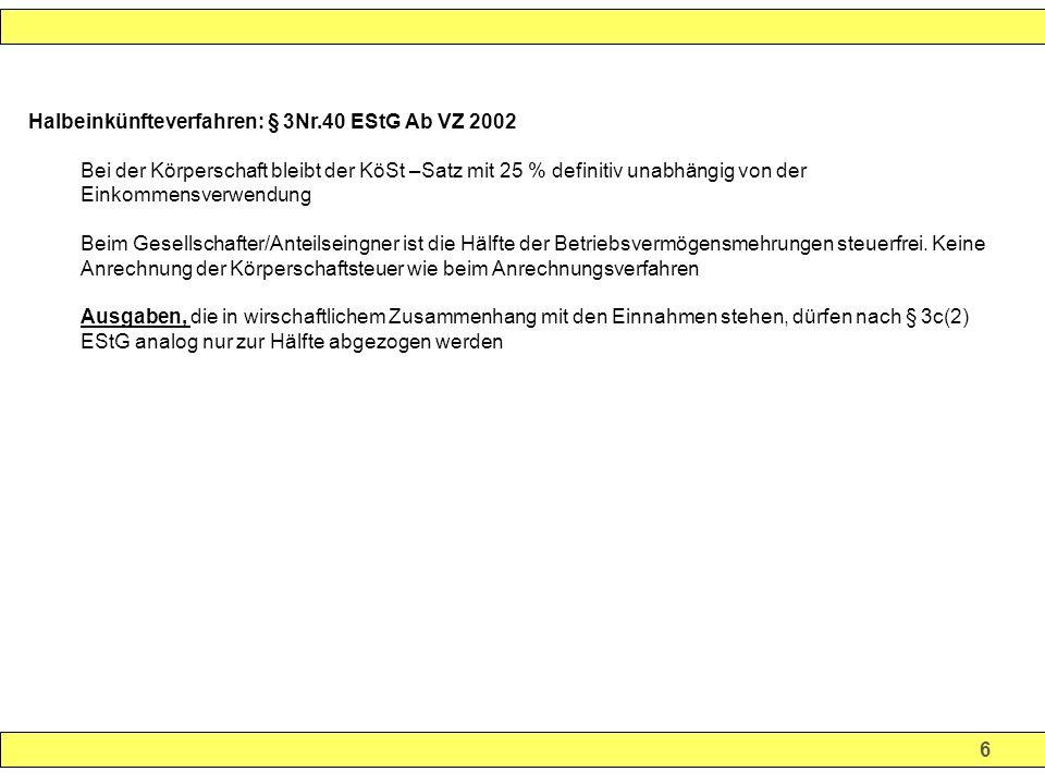 37 Körperschaftsteuertarif und Steuerbelastung Ausschüttung/Bar-Dividende (100%) 61.351,00 100,00 -20 % KapESt 12.270,00 20,00 - 5,5 % SolZ 674,85 1,10 (5,5 % x 20%) -Auszahlung (Netto- Dividende) 48.405,15 78,90 =========.