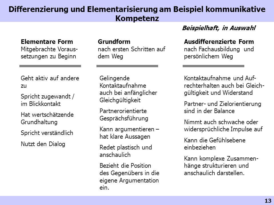 13 Differenzierung und Elementarisierung am Beispiel kommunikative Kompetenz Ausdifferenzierte Form nach Fachausbildung und persönlichem Weg Grundform