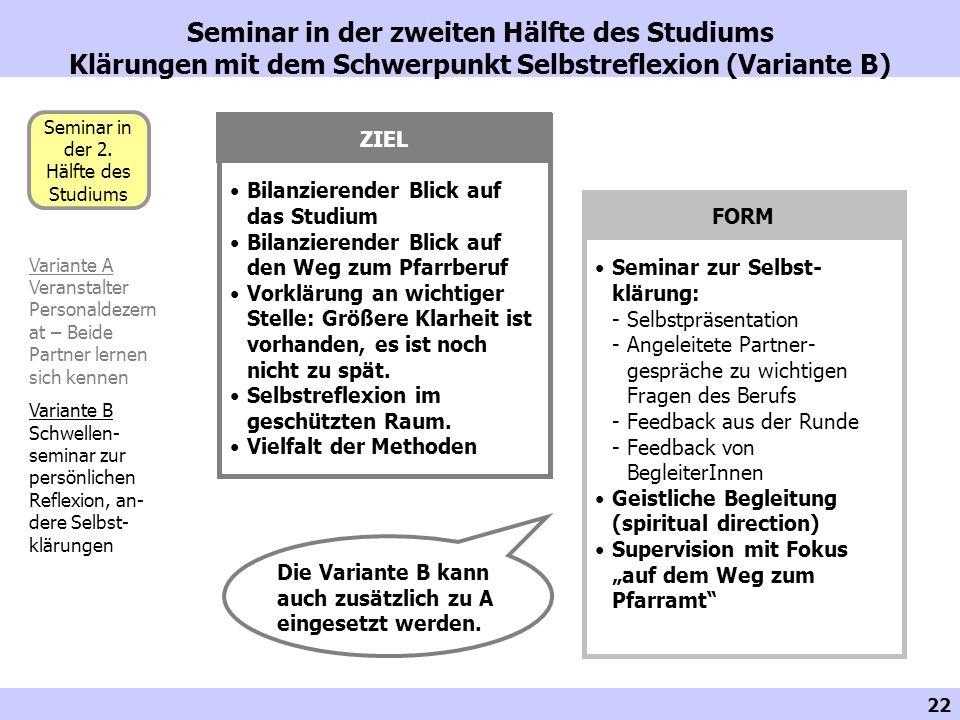 22 Seminar in der zweiten Hälfte des Studiums Klärungen mit dem Schwerpunkt Selbstreflexion (Variante B) Seminar in der 2. Hälfte des Studiums Variant