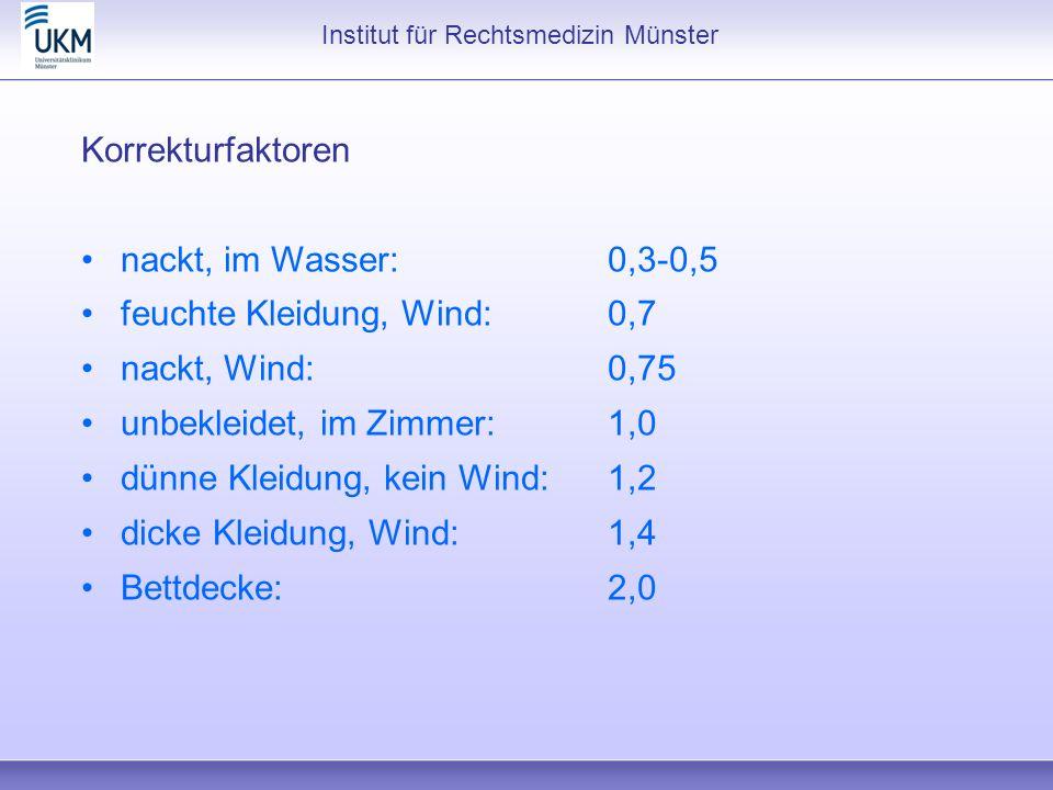 Institut für Rechtsmedizin Münster Korrekturfaktoren nackt, im Wasser:0,3-0,5 feuchte Kleidung, Wind:0,7 nackt, Wind:0,75 unbekleidet, im Zimmer:1,0 d