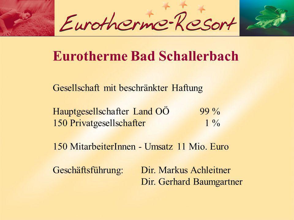 Eurotherme Bad Schallerbach Gesellschaft mit beschränkter Haftung Hauptgesellschafter Land OÖ99 % 150 Privatgesellschafter 1 % 150 MitarbeiterInnen - Umsatz 11 Mio.