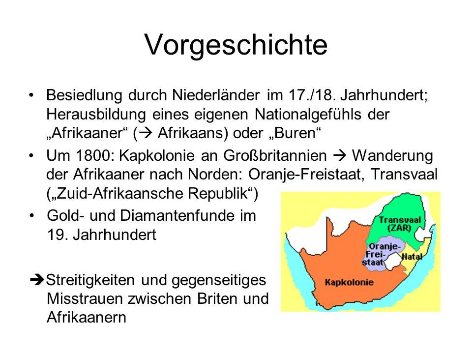 1899-1902: Großbritannien gewinnt im Burenkrieg die Kontrolle über die afrikaanischen Staaten.