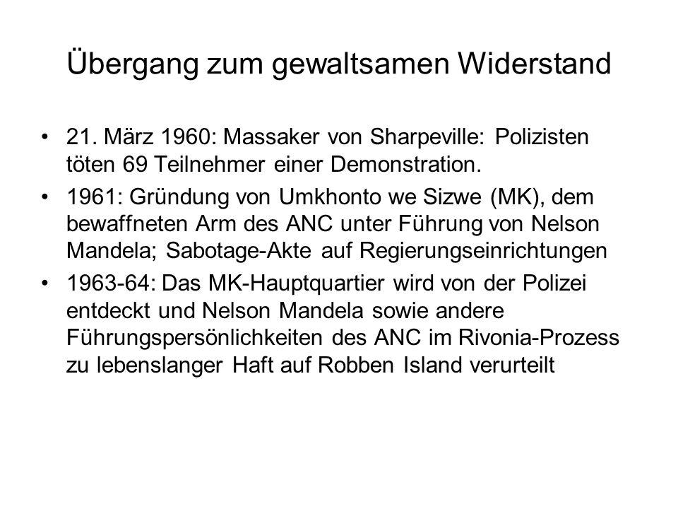 Übergang zum gewaltsamen Widerstand 21.