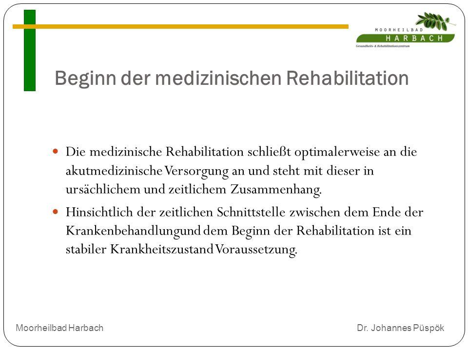 Beginn der medizinischen Rehabilitation Die medizinische Rehabilitation schließt optimalerweise an die akutmedizinische Versorgung an und steht mit dieser in ursächlichem und zeitlichem Zusammenhang.