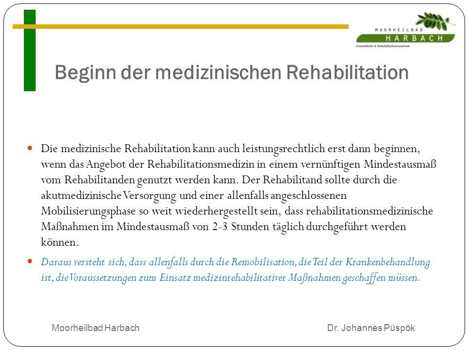 Beginn der medizinischen Rehabilitation Die medizinische Rehabilitation kann auch leistungsrechtlich erst dann beginnen, wenn das Angebot der Rehabilitationsmedizin in einem vernünftigen Mindestausmaß vom Rehabilitanden genutzt werden kann.