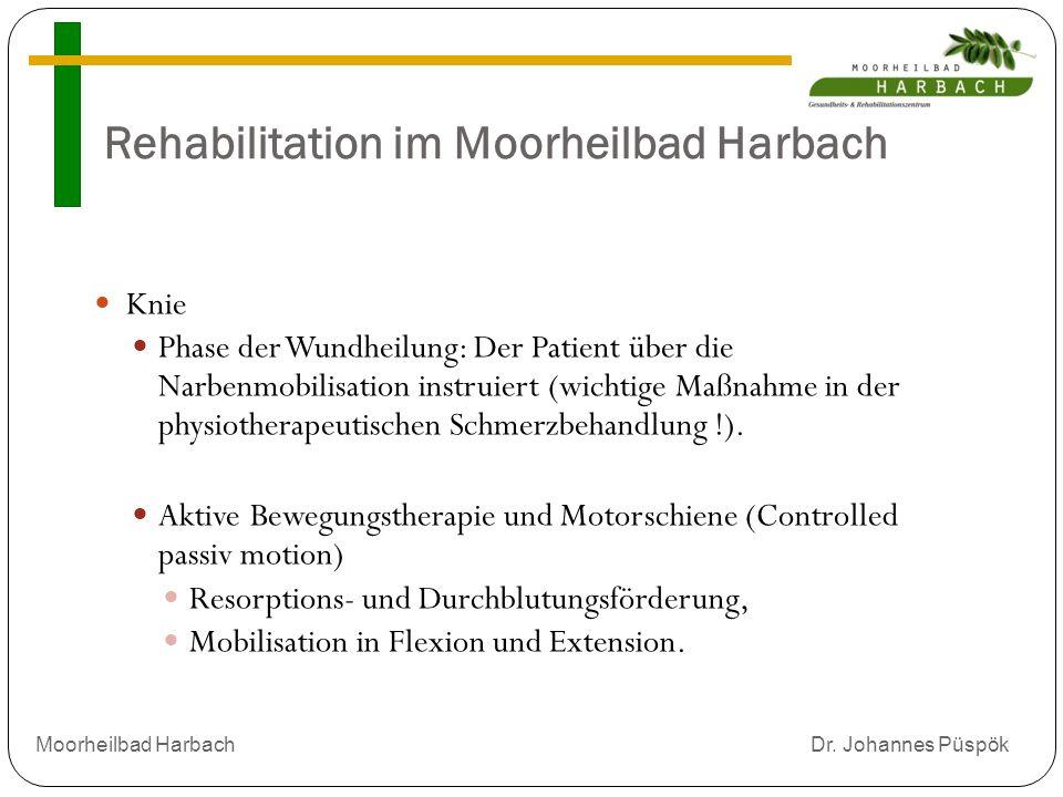 Rehabilitation im Moorheilbad Harbach Knie Phase der Wundheilung: Der Patient über die Narbenmobilisation instruiert (wichtige Maßnahme in der physiotherapeutischen Schmerzbehandlung !).