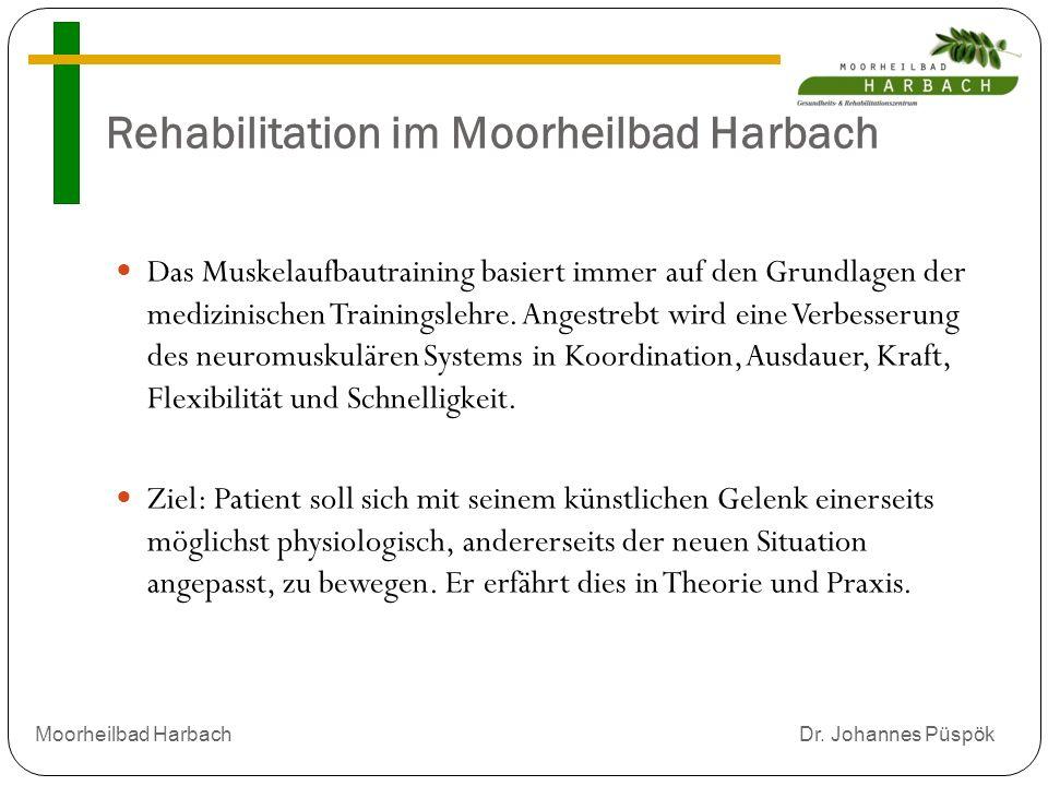 Rehabilitation im Moorheilbad Harbach Das Muskelaufbautraining basiert immer auf den Grundlagen der medizinischen Trainingslehre.