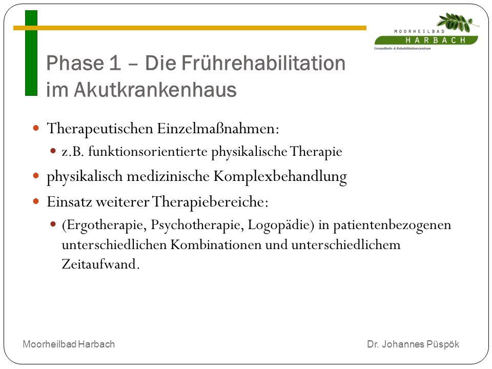 Phase 1 – Die Frührehabilitation im Akutkrankenhaus Therapeutischen Einzelmaßnahmen: z.B.