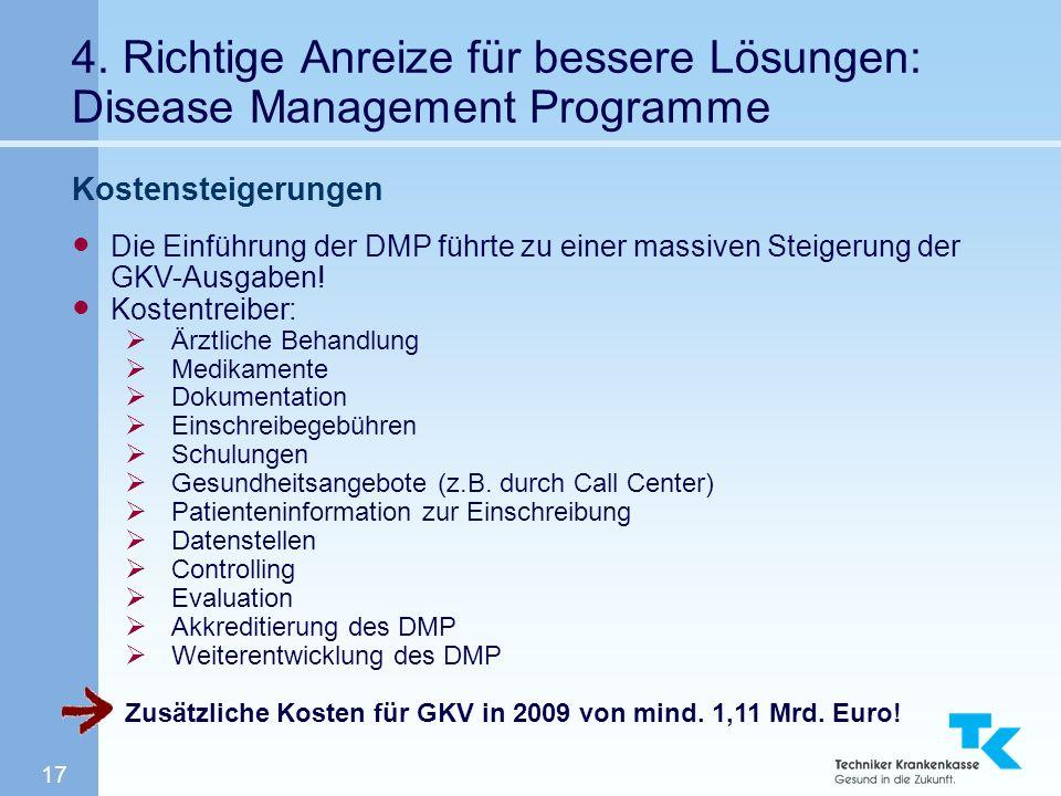 17 4. Richtige Anreize für bessere Lösungen: Disease Management Programme Kostensteigerungen Die Einführung der DMP führte zu einer massiven Steigerun