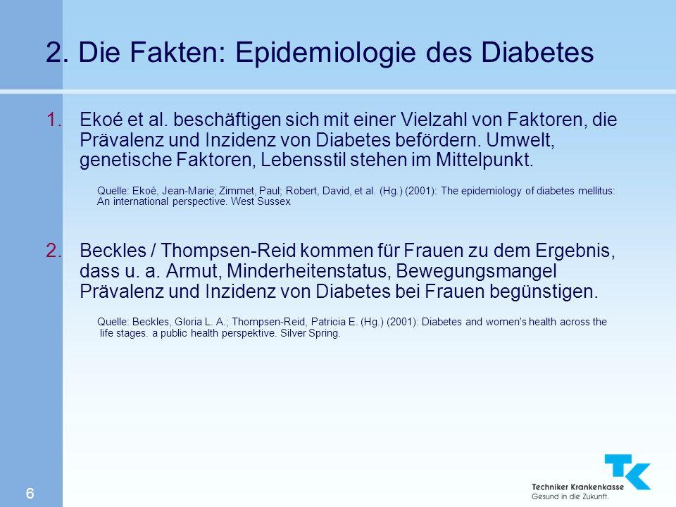6 2. Die Fakten: Epidemiologie des Diabetes 1. Ekoé et al. beschäftigen sich mit einer Vielzahl von Faktoren, die Prävalenz und Inzidenz von Diabetes