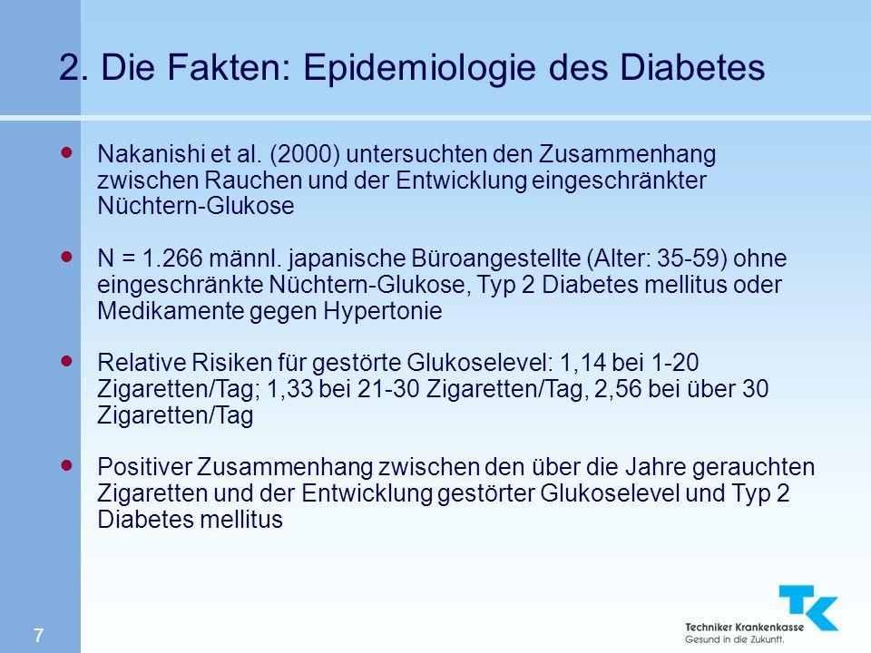 7 2. Die Fakten: Epidemiologie des Diabetes Nakanishi et al. (2000) untersuchten den Zusammenhang zwischen Rauchen und der Entwicklung eingeschränkter