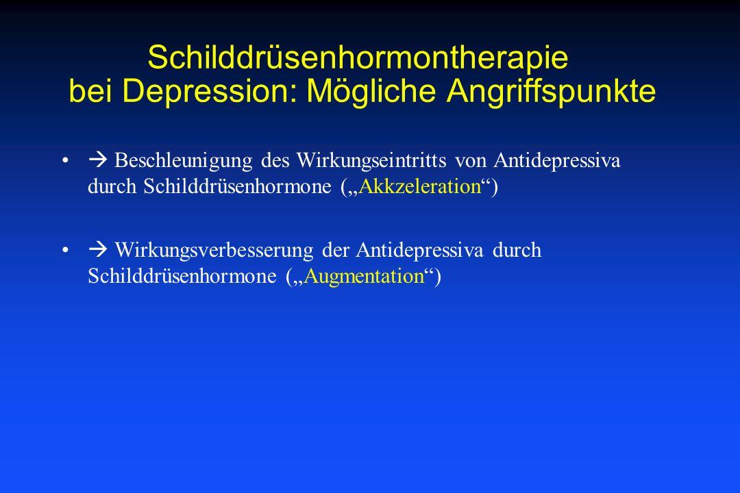 Schilddrüsenhormontherapie bei Depression: Mögliche Angriffspunkte Beschleunigung des Wirkungseintritts von Antidepressiva durch Schilddrüsenhormone (