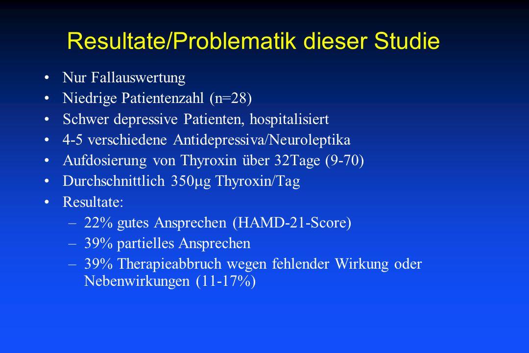 Resultate/Problematik dieser Studie Nur Fallauswertung Niedrige Patientenzahl (n=28) Schwer depressive Patienten, hospitalisiert 4-5 verschiedene Anti