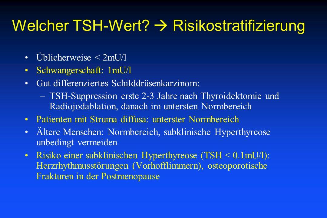 Welcher TSH-Wert? Risikostratifizierung Üblicherweise < 2mU/l Schwangerschaft: 1mU/l Gut differenziertes Schilddrüsenkarzinom: –TSH-Suppression erste