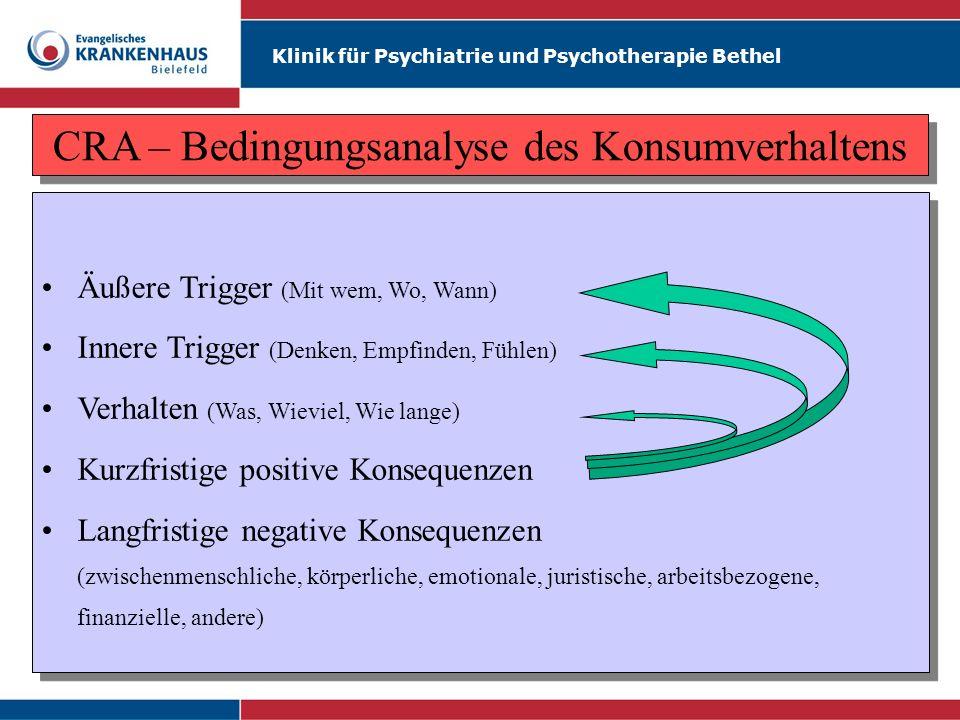 Klinik für Psychiatrie und Psychotherapie Bethel CRA – Bedingungsanalyse des Konsumverhaltens Äußere Trigger (Mit wem, Wo, Wann) Innere Trigger (Denke