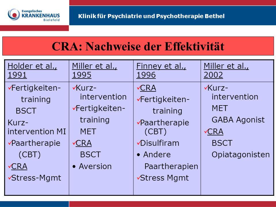 Klinik für Psychiatrie und Psychotherapie Bethel CRA: Nachweise der Effektivität Holder et al., 1991 Miller et al., 1995 Finney et al., 1996 Miller et