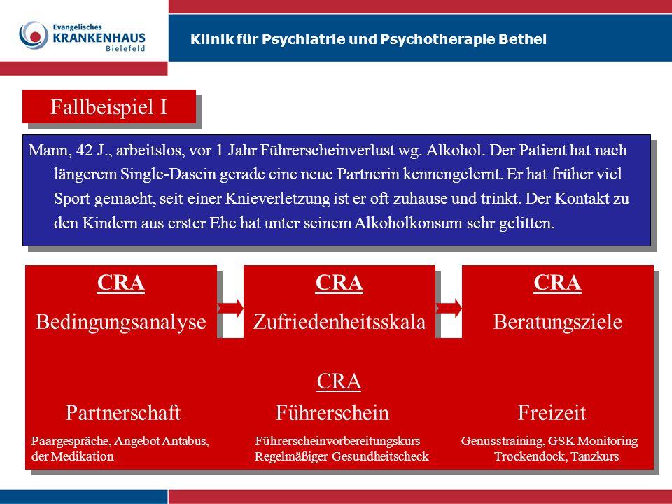 Klinik für Psychiatrie und Psychotherapie Bethel Fallbeispiel I Mann, 42 J., arbeitslos, vor 1 Jahr Führerscheinverlust wg. Alkohol. Der Patient hat n