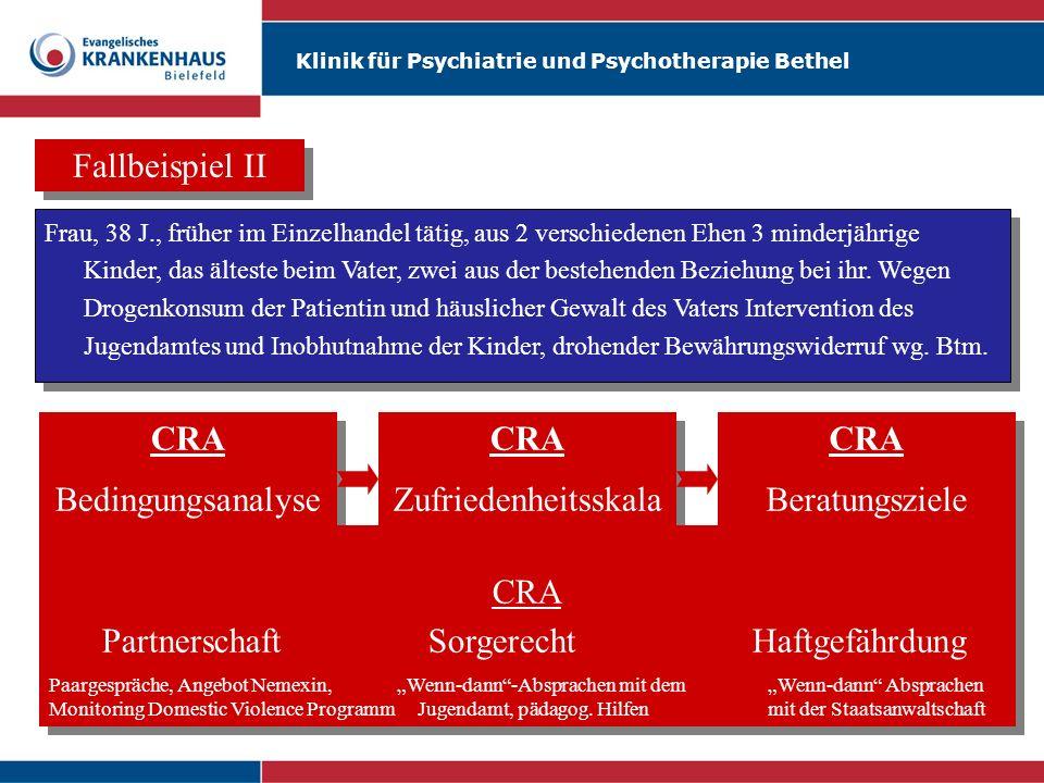 Klinik für Psychiatrie und Psychotherapie Bethel Fallbeispiel II Frau, 38 J., früher im Einzelhandel tätig, aus 2 verschiedenen Ehen 3 minderjährige K