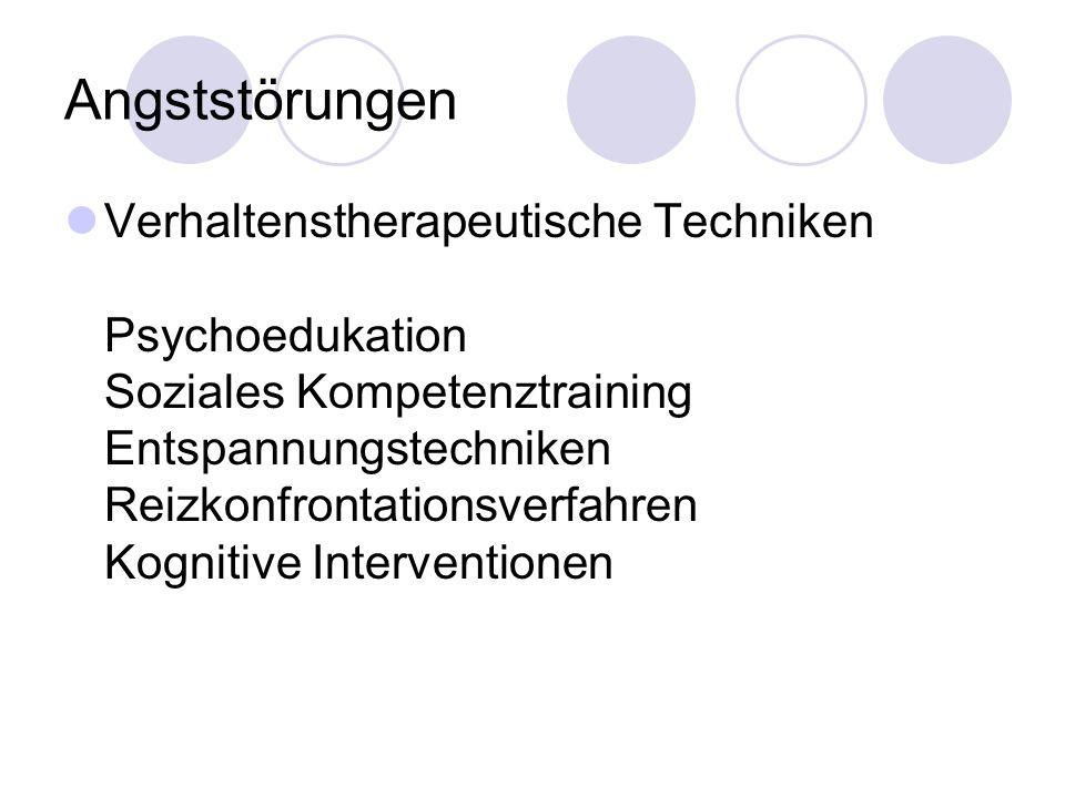 Angststörungen Verhaltenstherapeutische Techniken Psychoedukation Soziales Kompetenztraining Entspannungstechniken Reizkonfrontationsverfahren Kogniti