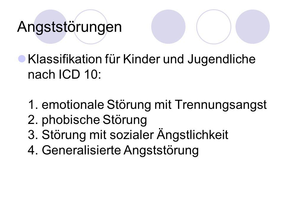 Angststörungen Klassifikation für Kinder und Jugendliche nach ICD 10: 1. emotionale Störung mit Trennungsangst 2. phobische Störung 3. Störung mit soz