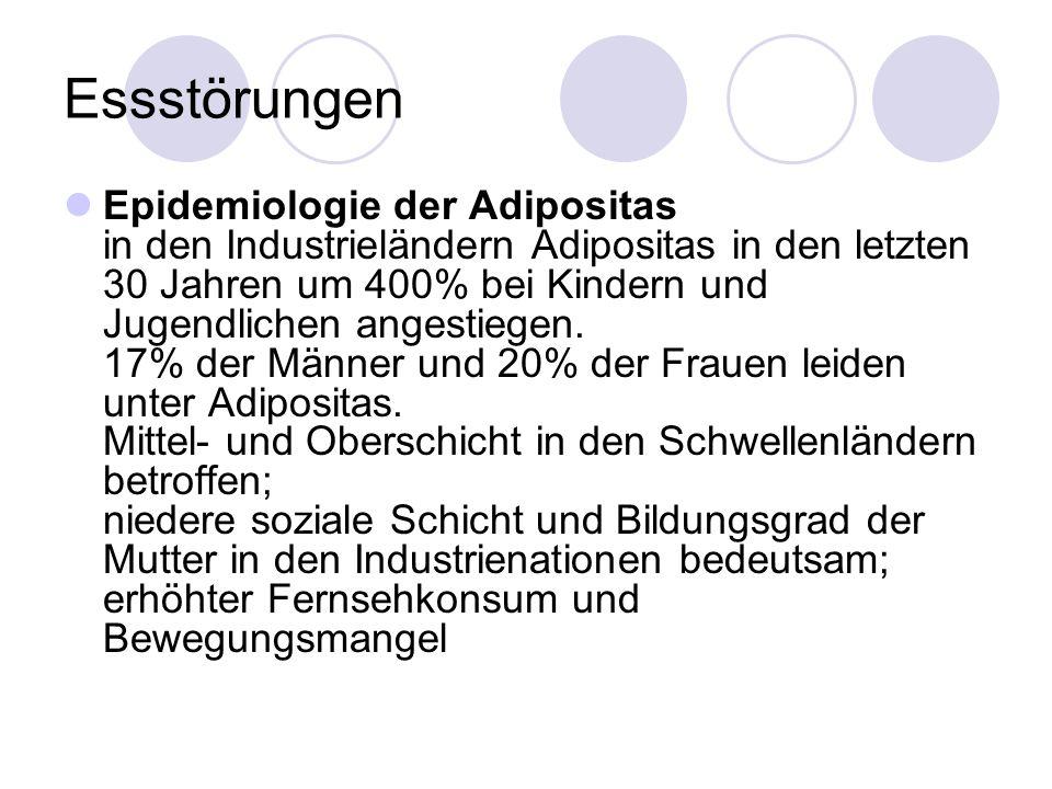 Essstörungen Epidemiologie der Adipositas in den Industrieländern Adipositas in den letzten 30 Jahren um 400% bei Kindern und Jugendlichen angestiegen