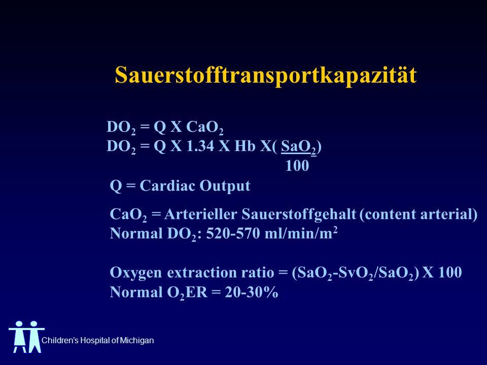 Childrens Hospital of Michigan Sauerstofftransportkapazität DO 2 = Q X CaO 2 DO 2 = Q X 1.34 X Hb X( SaO 2 ) 100 Q = Cardiac Output CaO 2 = Arterielle