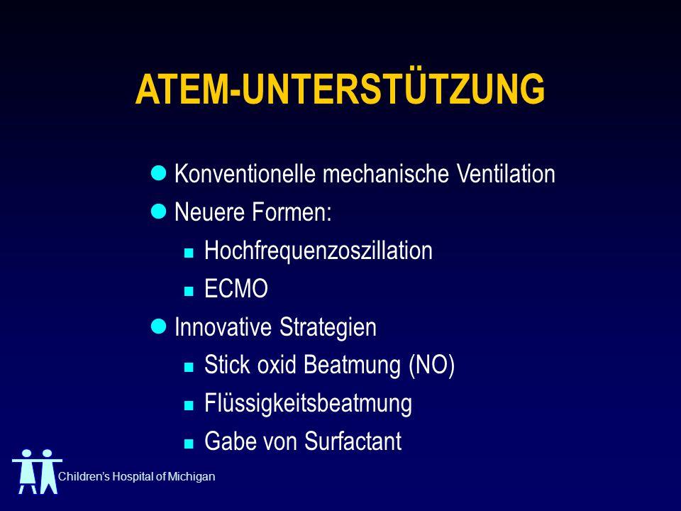 Childrens Hospital of Michigan ATEM-UNTERSTÜTZUNG Konventionelle mechanische Ventilation Neuere Formen: Hochfrequenzoszillation ECMO Innovative Strate