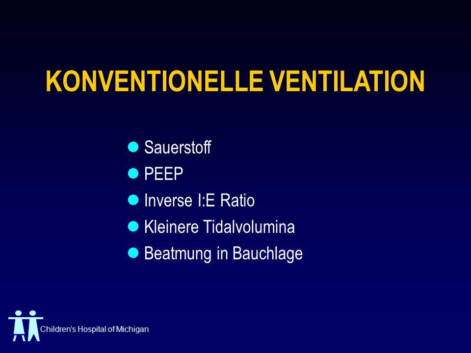 Childrens Hospital of Michigan KONVENTIONELLE VENTILATION Sauerstoff PEEP Inverse I:E Ratio Kleinere Tidalvolumina Beatmung in Bauchlage