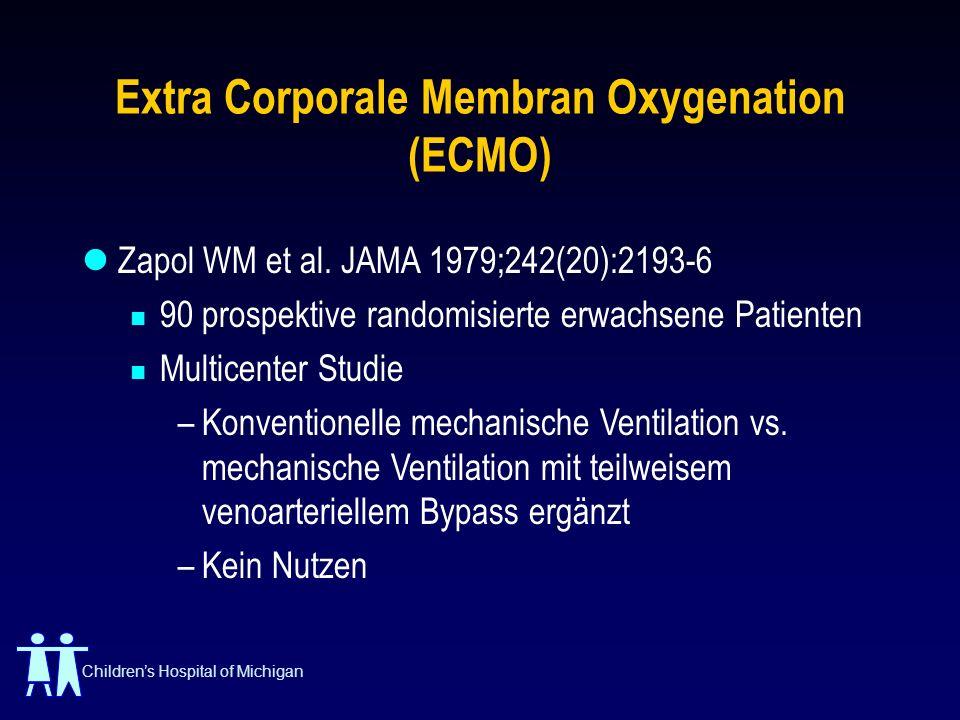 Childrens Hospital of Michigan Extra Corporale Membran Oxygenation (ECMO) Zapol WM et al. JAMA 1979;242(20):2193-6 90 prospektive randomisierte erwach