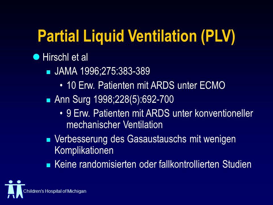 Childrens Hospital of Michigan Partial Liquid Ventilation (PLV) Hirschl et al JAMA 1996;275:383-389 10 Erw. Patienten mit ARDS unter ECMO Ann Surg 199