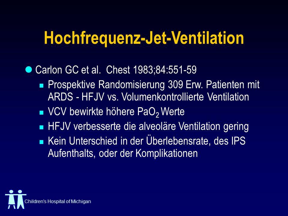 Childrens Hospital of Michigan Hochfrequenz-Jet-Ventilation Carlon GC et al. Chest 1983;84:551-59 Prospektive Randomisierung 309 Erw. Patienten mit AR