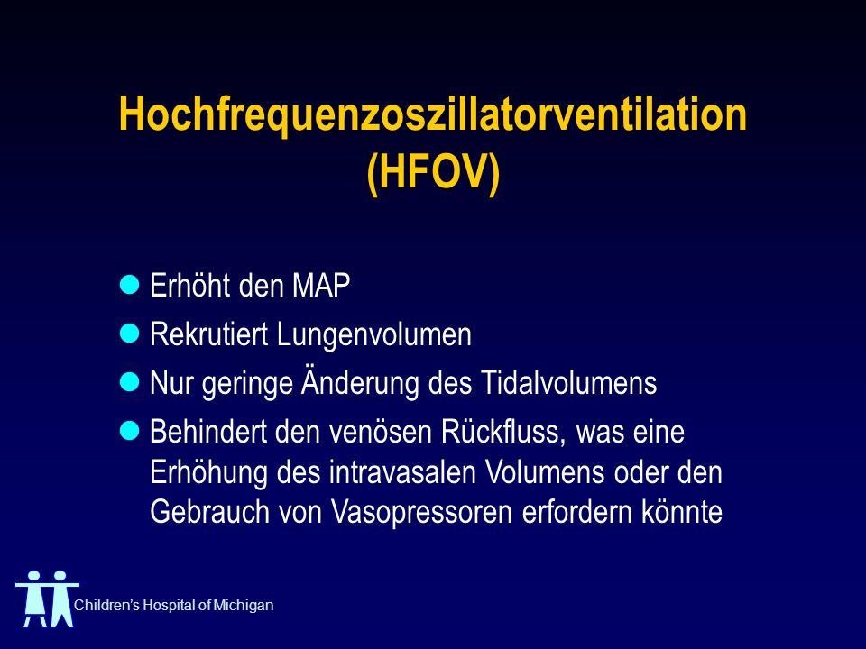 Childrens Hospital of Michigan Hochfrequenzoszillatorventilation (HFOV) Erhöht den MAP Rekrutiert Lungenvolumen Nur geringe Änderung des Tidalvolumens
