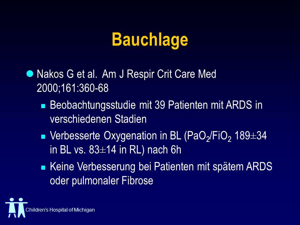 Childrens Hospital of Michigan Bauchlage Nakos G et al. Am J Respir Crit Care Med 2000;161:360-68 Beobachtungsstudie mit 39 Patienten mit ARDS in vers