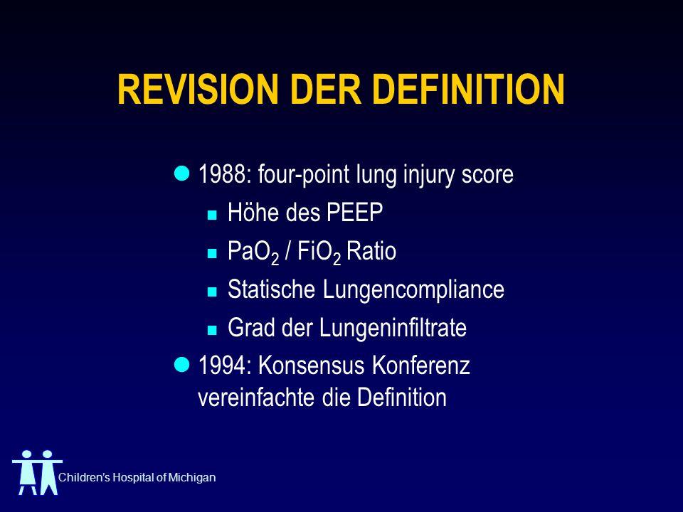 Childrens Hospital of Michigan 1994 KONSENSUS Akuter Beginn Kann schwerem Krankheits Ereignis folgen Bilaterale Infiltrate im Lungen Rx PCWP < 18 mm Hg Zwei Kategorien: Acute Lung Injury - PaO 2 /FiO 2 Ratio < 300 ARDS - PaO 2 /FiO 2 Ratio < 200