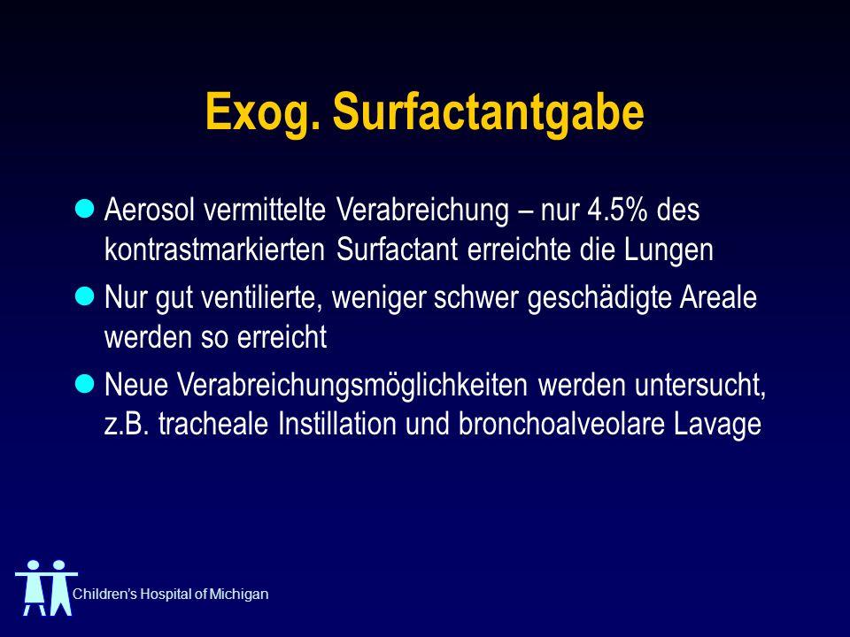 Childrens Hospital of Michigan Exog. Surfactantgabe Aerosol vermittelte Verabreichung – nur 4.5% des kontrastmarkierten Surfactant erreichte die Lunge