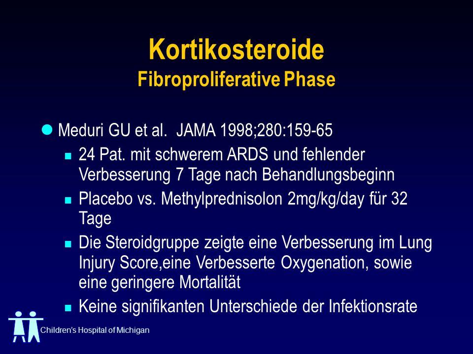 Childrens Hospital of Michigan Kortikosteroide Fibroproliferative Phase Meduri GU et al. JAMA 1998;280:159-65 24 Pat. mit schwerem ARDS und fehlender