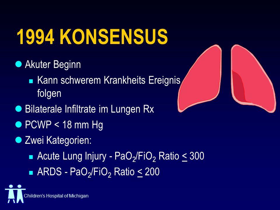 Childrens Hospital of Michigan 1994 KONSENSUS Akuter Beginn Kann schwerem Krankheits Ereignis folgen Bilaterale Infiltrate im Lungen Rx PCWP < 18 mm H