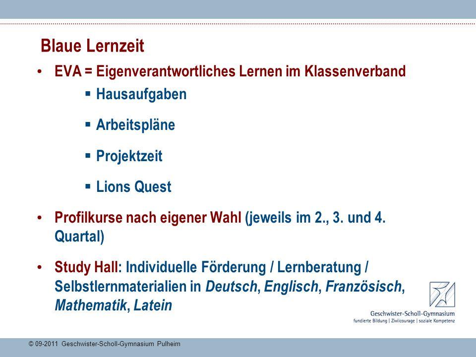 Blaue Lernzeit EVA = Eigenverantwortliches Lernen im Klassenverband Hausaufgaben Arbeitspläne Projektzeit Lions Quest Profilkurse nach eigener Wahl (jeweils im 2., 3.