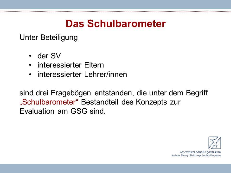 Das Schulbarometer Unter Beteiligung der SV interessierter Eltern interessierter Lehrer/innen sind drei Fragebögen entstanden, die unter dem Begriff Schulbarometer Bestandteil des Konzepts zur Evaluation am GSG sind.