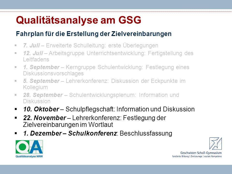 Qualitätsanalyse am GSG Fahrplan für die Erstellung der Zielvereinbarungen 7.