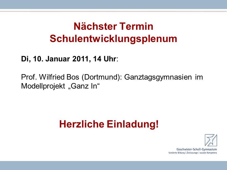 Nächster Termin Schulentwicklungsplenum Di, 10.Januar 2011, 14 Uhr: Prof.