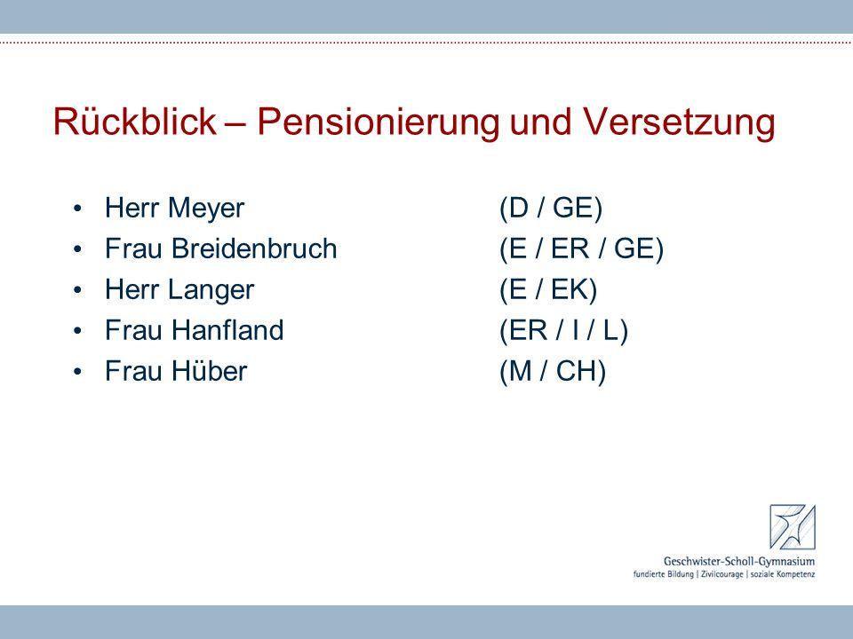 Rückblick – Pensionierung und Versetzung Herr Meyer(D / GE) Frau Breidenbruch(E / ER / GE) Herr Langer(E / EK) Frau Hanfland(ER / I / L) Frau Hüber(M / CH)